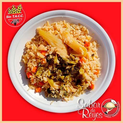Panache de verduras vegano con arroz libre de gluten